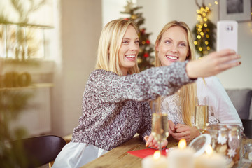 zwei frauen machen ein selfie vor dem weihnachtsbaum