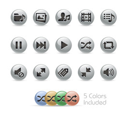 Web and Mobile Icons 7 // Metal Round Series - Vector file includes 5 color versions.