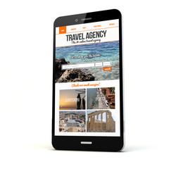 travel agency website on screen phone