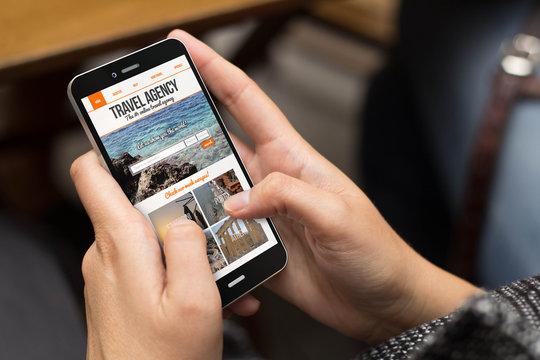 street girl travel agency website on screen