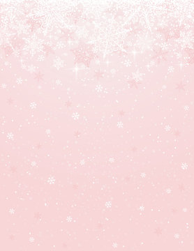 Pink background with snowflakes, vector
