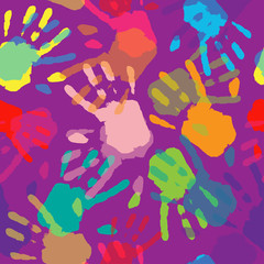 .Seamless Pattern Hand Colorful Prints.
