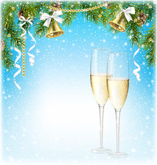 Shiny Christmas Background with Sparkling Wine Champagne Jingle