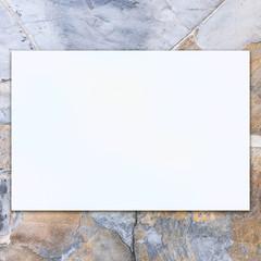 Blank space white billboard on stone background