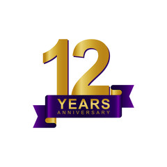 Anniversary Logo Dark Purple Gold 12