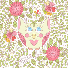 Vector owls, flowers and leaves seamless pattern.