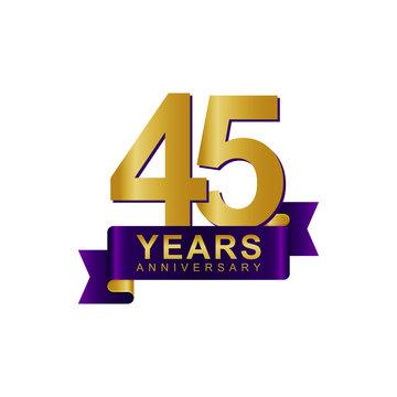 Anniversary Logo Dark Purple Gold 45