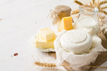 Photo sur Toile Produit laitier Selection of dairy products