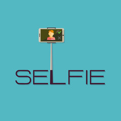 Taking Selfie Photo on Smart Phone or Tablet concept logo or ico