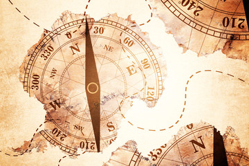 Antarctica map and Compass old paper Over White Background, Elements of this image furnished by NASA (Satellite map of Antarctica)