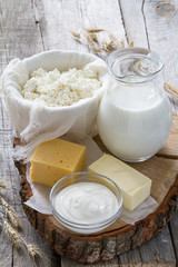 Foto op Textielframe Zuivelproducten Selection of dairy products and wheat