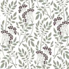 seamless Art Deco vintage pattern sprigs and berries