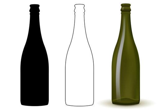 Empty bottle of wine, champagne.