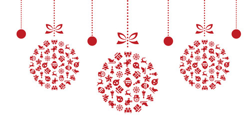 Wall Mural - Christmas Ball Symbols Dekoration