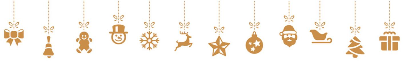 Golden Stars Chsitmas Symbols background decoration Panorama