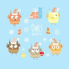 Five cartoon owls. Winter Christmas set.