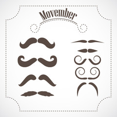 Movember mustache set. No-Shave November event icons.