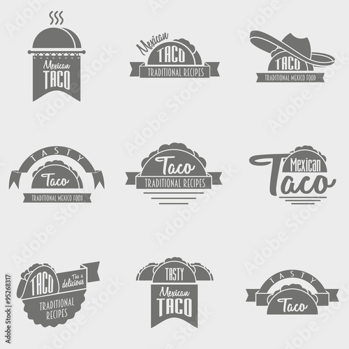 vector set of taco logo concepts. Template can be used to design ...