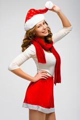 Christmas Santa hat isolated woman portrait . Smiling happy girl