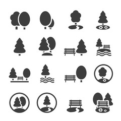Park Icon Set. Trees, forest, vector icons