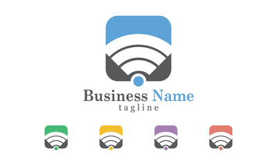 Wifi Icon Logo Vector With Five Color Options