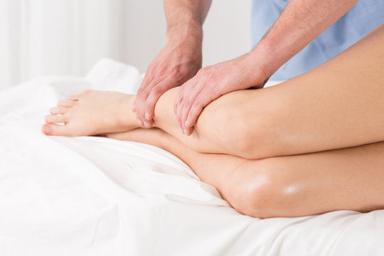 Physical therapist doing lymphatic drainage