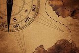 intage Travel old Map and Compass Over color Background , Elements of this image furnished by NASA (Satellite map of Antarctica)