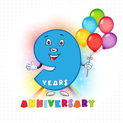9 anniversary funny logo. The birthday card with color personified animated digit and bright baloons.