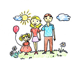Drawing of happy family on white background