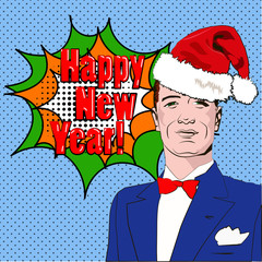 Pop Art Man. Happy New Year