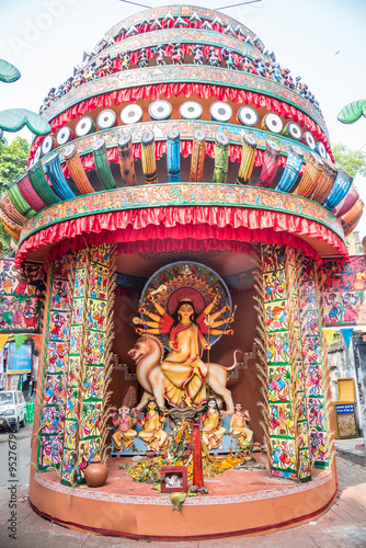 Durga puja pandal and idols being worshipped with flowers stock durga puja pandal and idols being worshipped with flowers thecheapjerseys Images