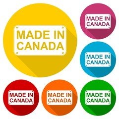 Made in Canada icons set with long shadow