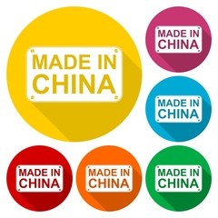 Made in China icons set with long shadow