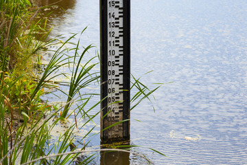 Water level measurement gauge during drought.