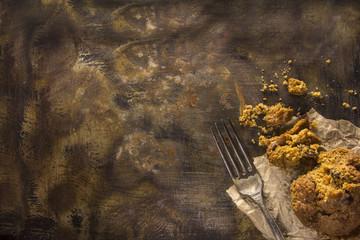 A beautiful rustic pan with fresh bran muffin