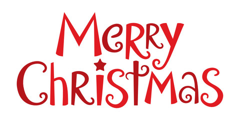 MERRY CHRISTMAS in festive handdrawn vector font