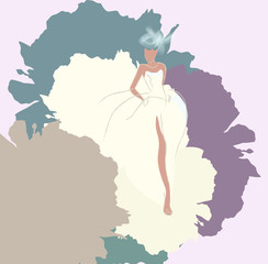 Abstract sketch of a woman in a wedding dress, background of watercolor spots,  Fashion Week