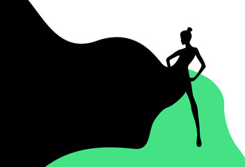Abstract sketch of the woman in the green Black dress , white background . Fashion  Week