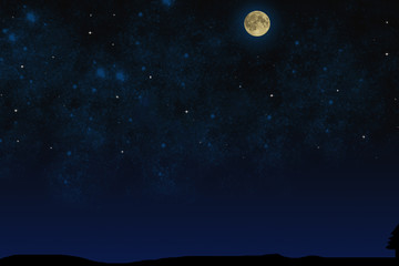 Night sky. Full moon on the starry sky