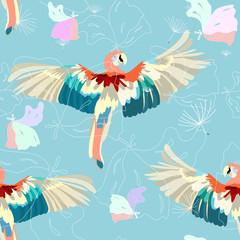 Parrot, seamless wallpaper, floral background