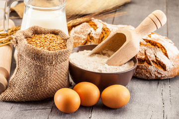 Wheat grains and flour