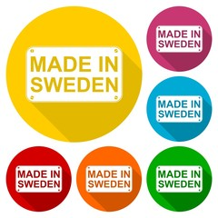 Made in Sweden icons set with long shadow