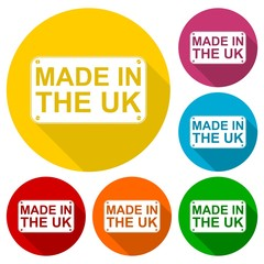 Made in UK icons set with long shadow