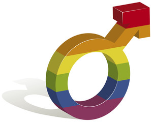 3D illustration of a male gender symbol in the colors of the gay flag