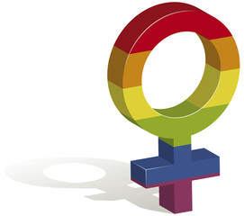 3D illustration of a female gender symbol in the colors of the gay flag