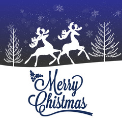Reindeer Silhouette Merry Christmas Poster