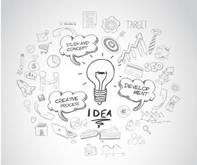 idea concept with light bulb and doodle sketches infographic
