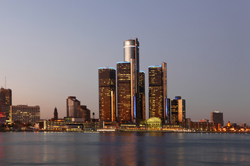 The Detroit Skyline at twilight