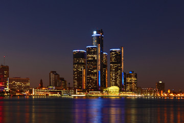 The Detroit, Michigan Skyline at night