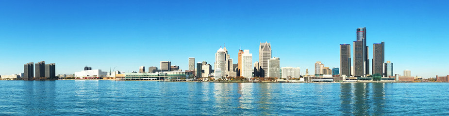 Panorama of the Detroit, Michigan Skyline Wall mural